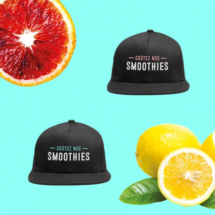 Bar à smoothies design graphique casquettes