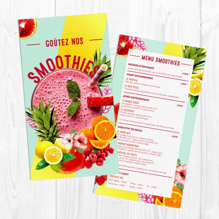Bar à smoothies design graphique menu